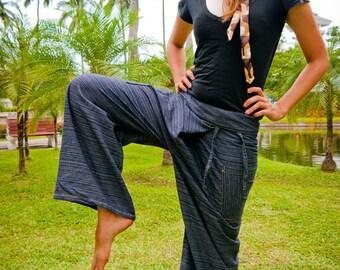 Fisherman pants, Cotton, Dark Grey Pattern UNISEX