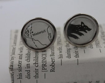 Game of Thrones//Stark Sigil and Map//Stark crest and Winterfell //Literature Cufflinks/ ASOIAF