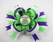 Birthday Hair Bow - Purple and Green Hair Bow - Purple Hair Bow - Green Hair Clip - Birthday Hair Clip