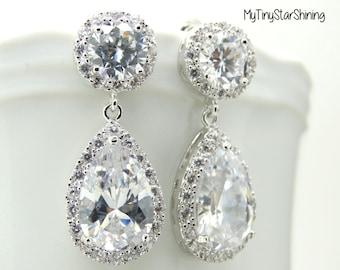 Bridal Earrings Teardrop Dangle Earrings Wedding Jewelry Bridal Earrings Bridal jewelry Wedding Earrings Clear white Teardrop cubic zirconia