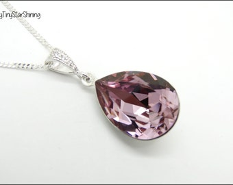 Pink Necklace Pale Pink Crystal Swarovski Necklace Sterling Silver Necklace Wedding Jewelry Mauve Jewelry Bridesmaid Gift  Pink Pendant