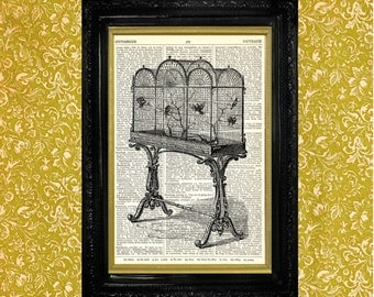 Vintage Victorian Birdcage Print, Standing Birdcage, Dictionary Page Art Print, Recycled Vintage Book Page Print, Upcycled Art Print