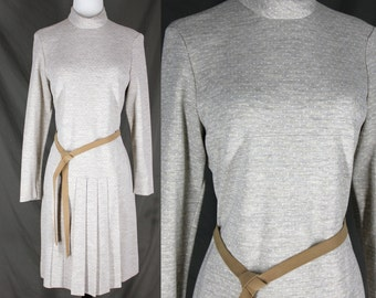 Vintage Dress Pleated Skirt Heather Grey with Suede Belt