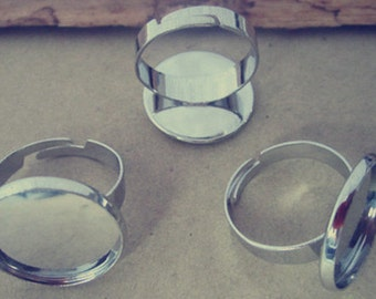 10 pcs White K (copper ) adjustable ring bases 18mm