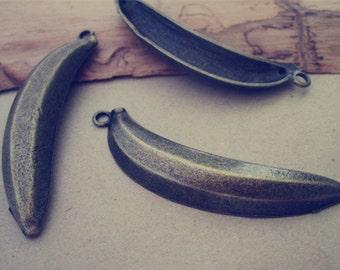 10pcs Antique Bronze banana Pendant Charms 13mmx60mm