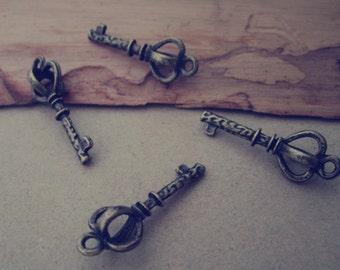 30pcs Antique bronze Key charm pendant  9mmx26mm