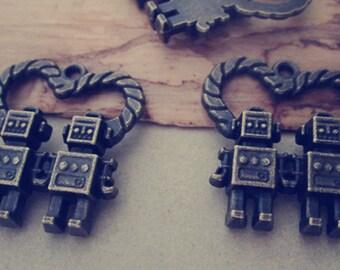 10pcs Antique bronze robot pendant charm 24mmx25mm
