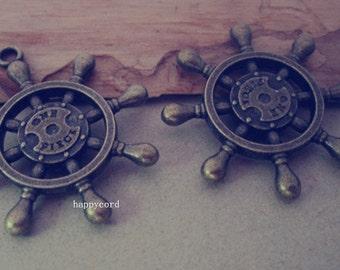 10pcs Antique bronze rudder pendant charm 34mm