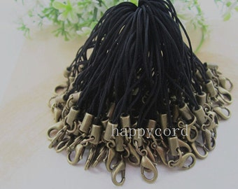 50pcs  65mm Black mobile cell phone key strap chain with bronze  lobster clasps