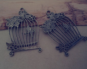 5pcs Antique bronze birdcage Pendant charm 40mmx61mm