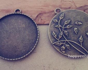 5pcs 35mm Antique bronze flower Pendant  tray base