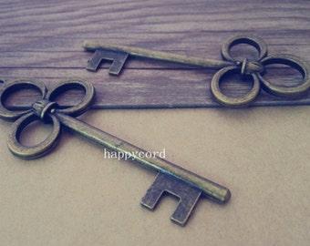 5pcs antique bronze plum flower Key pendant charm 31mmx79mm