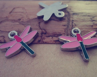 12pcs  colorful dragonfly pendant charm 19mmx20mm