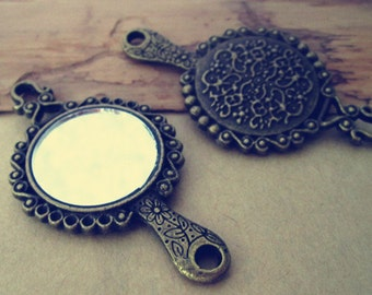 4pcs antique bronze mirror pendant Charms 31mmx58mm