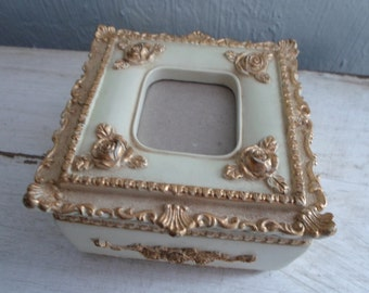 Cottage Chic Style Off White and Gold Trinket Jewelry Box with Photo Frame