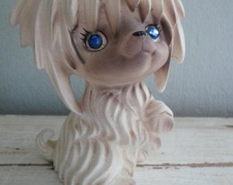 Cheerful Shaggy Lego Japan Ceramic Dog Figurine with Bright Blue Rhinestone Eyes