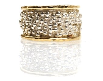 Gold and sterling silver ring ,bolitas