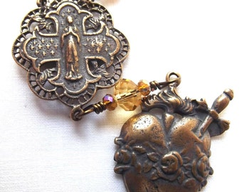 Chaplet of the Immaculate Heart of Mary Heirloom Wirewrapped