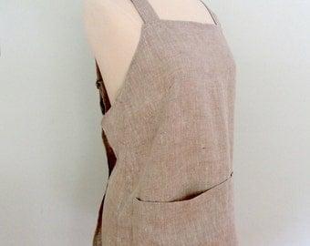 Linen Japanese Apron, Adjustable, Garden Apron, Artist Apron in Gray Short or Long Length, Gift for the Gourmand