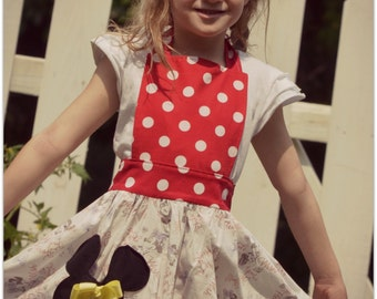 Minnie Mouse Apron Little Girl size 4 to 8 Inspired by Our LOVE of Minnie Mouse