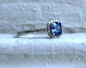 14K White Gold Pave Diamond and Sapphire Halo Ring - 1.26ct.