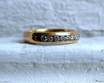 Vintage Channel 14K Yellow Gold Diamond Wedding Band - 0.48ct