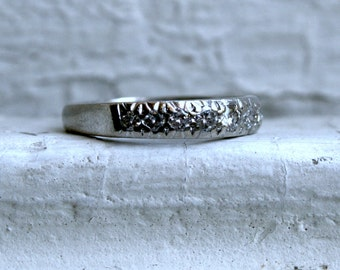 Classic Vintage Pave Diamond Wedding Band.