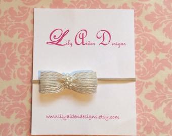 Natural bow with pearls headband/ newborn headband/ Baby headband/ Girls headband