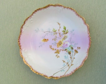 Antique Limoges porcelain bowl, hand painted china bowl with daisies