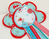 Shabby Chic Rosette ~ TURQUOISE & RED ~ the perfect accessory for Birthday Parties and Special Occasions