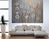 """40""""  Original Abstract  Flower Painting gold silver Acrylic Painting Modern Art  Handmade by Carola, 40""""x32"""" FREE SHIPPING"""