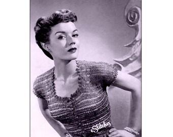 1950s Fancy Top with Scallop Edging Ribbon Blouse - Knit pattern PDF 7433