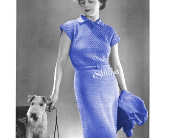 1930s Cap Sleeve Dress with Jacket  - 2 Crochet pattern PDF 3689