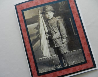 Patriotic Card 4th of July, Military, Honor Flight,  Birthday, Veterans Day Handmade Greeting Card with scanned image of 1900 child and flag