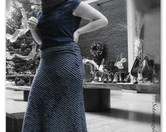 Flamenco belly dance steam punk cos-play skirt stretchy mermaid style blue ruffled skirt for practice and performance