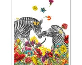 Mixed media Decorative art Animal painting drawing illustration portrait  print POSTER 8x10 Happy Zebras in Love
