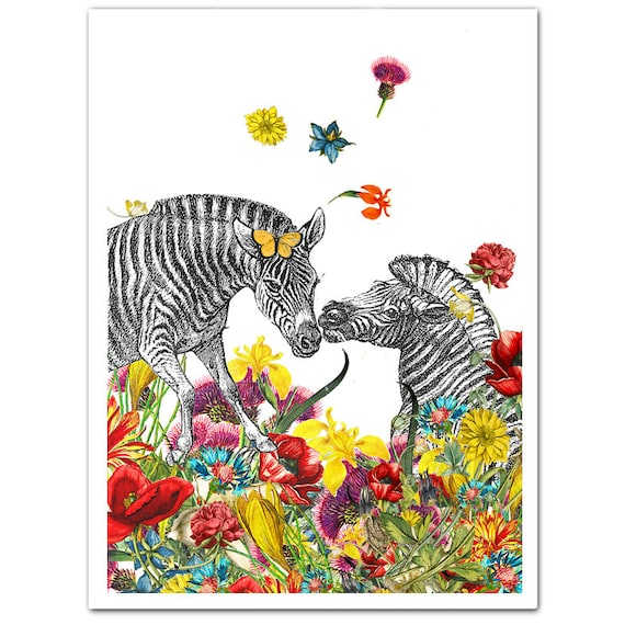 Mixed media, Happy Mothers day, Decorative art Animal painting drawing illustration portrait  print POSTER 8x10 Happy Zebras in Love