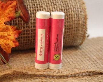 2 Tubes - Berry Cherry Shea Butter & Beeswax Lip Balm - Lanolin Free