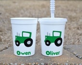 5 personalized green tractor cups with straw and lid