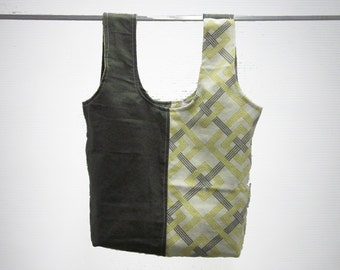 handmade carry-all lunch bag or purse - eco friendly, washable, durable - yellow and gray geometric