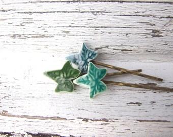 Ivy bobby pin hair clip set green glazed ceramic antique bronze hair Winter Wedding hair pins