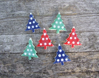 Christmas Tree earrings, polka dot, blue, green, red ceramic stud posts, handmade Christmas, Holiday fashion
