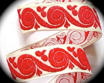 """Vintage Ribbon -  1 """" x 5 yds  Natural and  Red  Swirl"""