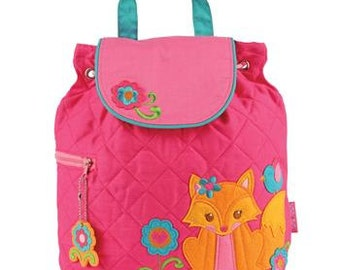 Personalized Stephen Joseph Quilted Fox Backpack, Diaper Bag with FREE Embroidery