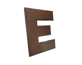 Vintage Sign Letter E, Industrial Salvage Rustic Architectural Marquee