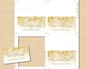 White Gold Sparkles Text-Editable Place Card Tent: Works with Word - Fits Avery 5302, 5820 or 8820 - Instant Download