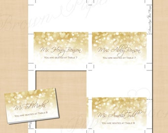 White Gold Sparkles Place Card Tent, Food Reception Buffet (Fold to 3.5x2): Text-Editable in Word®, Printable on Avery®, Instant Download