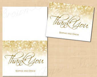 White Gold Sparkles Thank You Cards (Fold to 5.5x4.25): Text-Editable in Microsoft® Word, Printable Instant Download