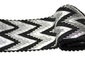 2 YARDS Black Silver Elastic Ribbon Stretch Rubber 2.2 ''