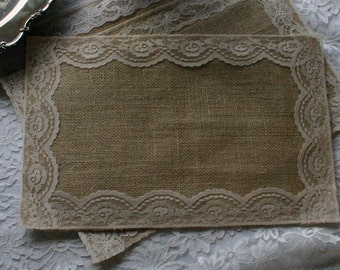 Burlap and lace table place mats